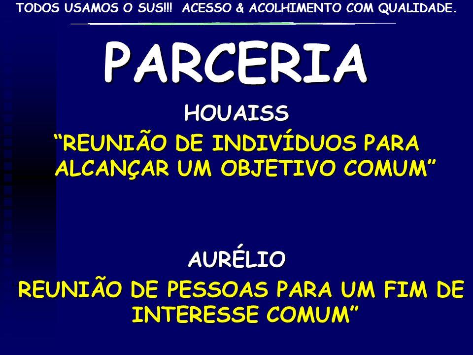 PARCERIA HOUAISS. REUNIÃO DE INDIVÍDUOS PARA ALCANÇAR UM OBJETIVO COMUM AURÉLIO.