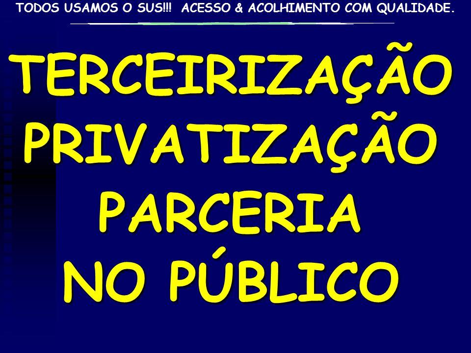 TERCEIRIZAÇÃO PRIVATIZAÇÃO PARCERIA NO PÚBLICO