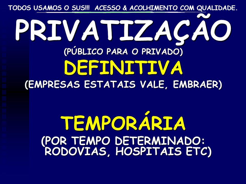 PRIVATIZAÇÃO DEFINITIVA TEMPORÁRIA