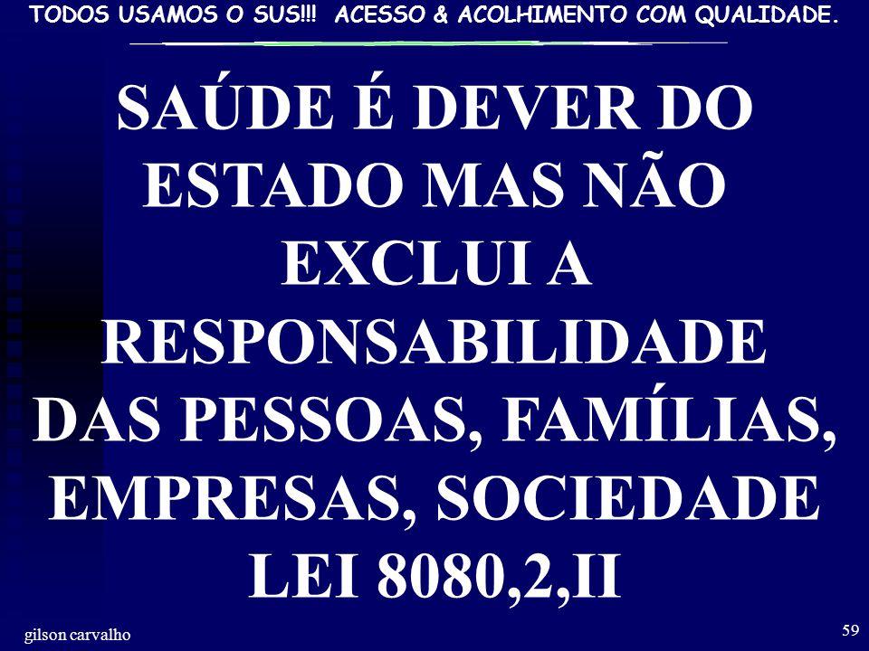 SAÚDE É DEVER DO ESTADO MAS NÃO EXCLUI A RESPONSABILIDADE DAS PESSOAS, FAMÍLIAS, EMPRESAS, SOCIEDADE LEI 8080,2,II.