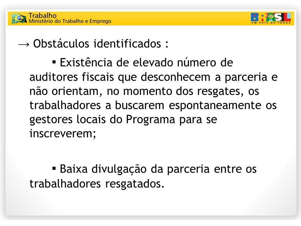 → Obstáculos identificados :