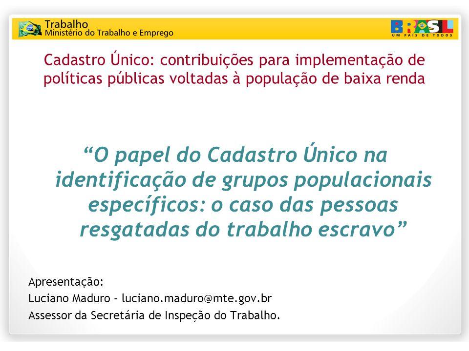 Cadastro Único: contribuições para implementação de políticas públicas voltadas à população de baixa renda
