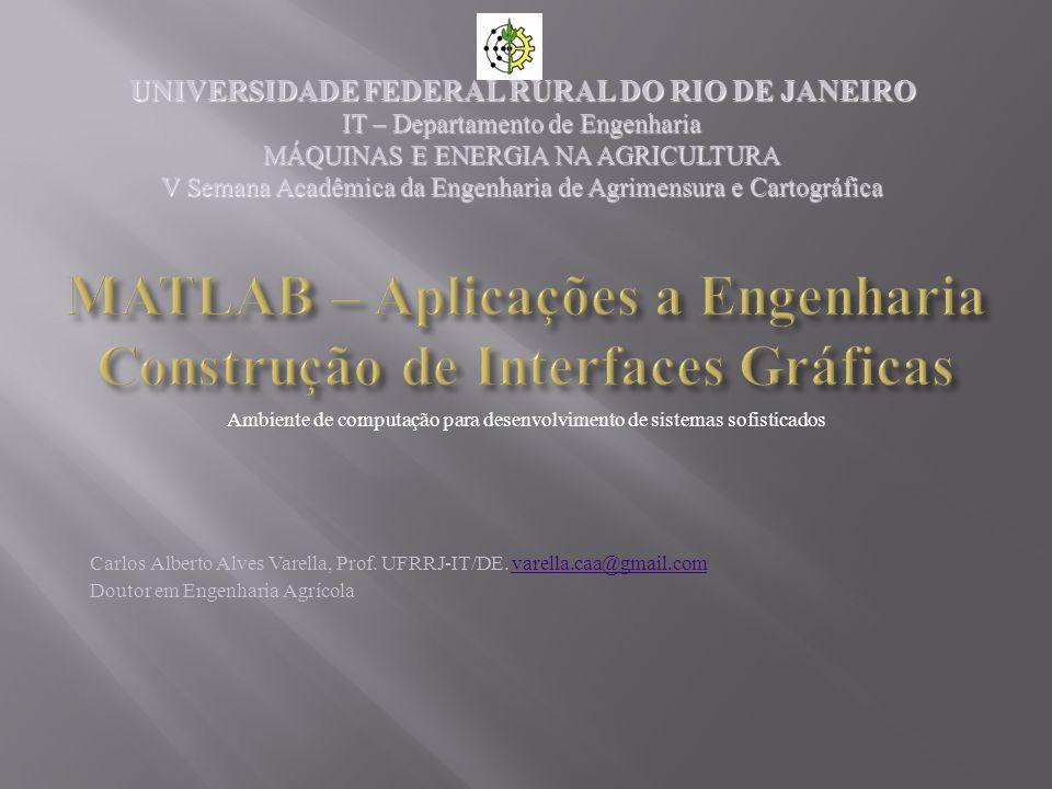 MATLAB – Aplicações a Engenharia Construção de Interfaces Gráficas