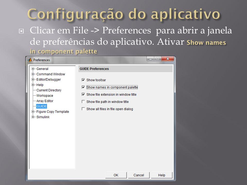 Configuração do aplicativo