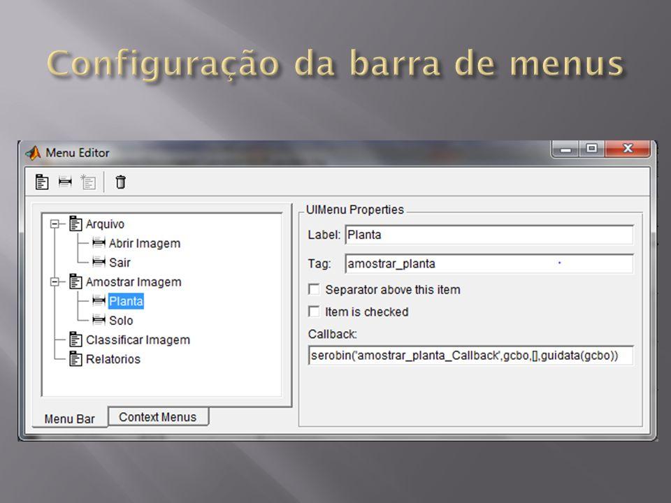 Configuração da barra de menus