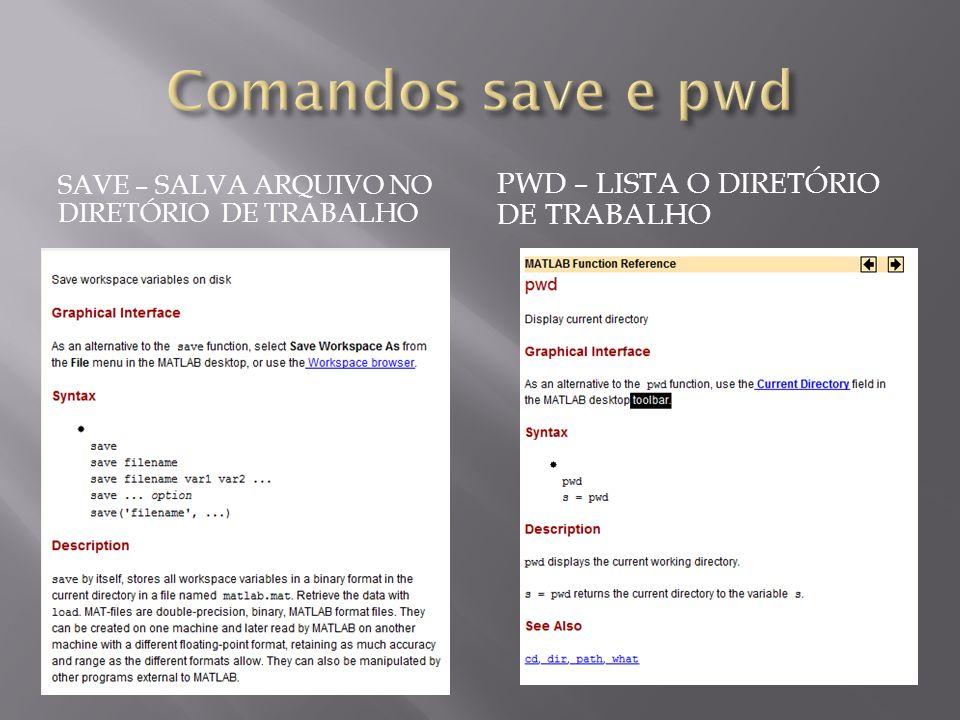 Comandos save e pwd pwd – lista o diretório de trabalho