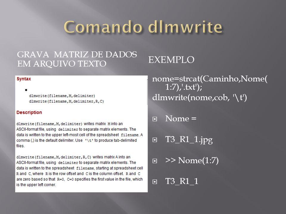 Comando dlmwrite Exemplo Grava matriz de dados em arquivo texto