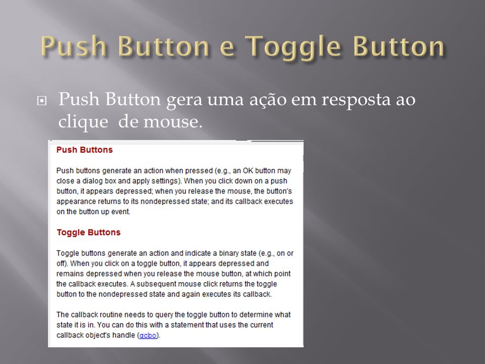 Push Button e Toggle Button