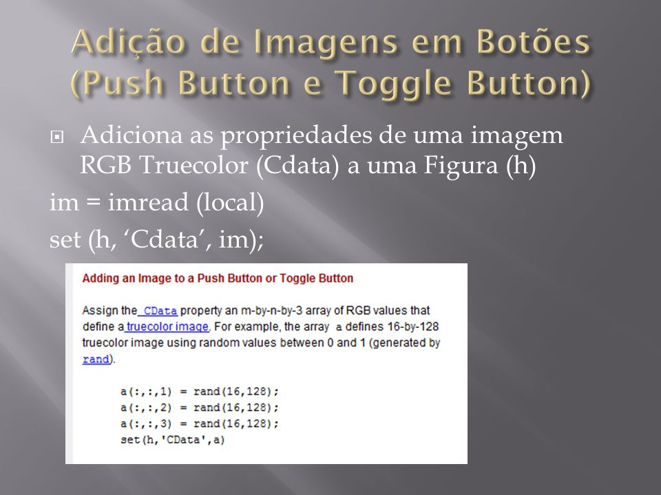 Adição de Imagens em Botões (Push Button e Toggle Button)