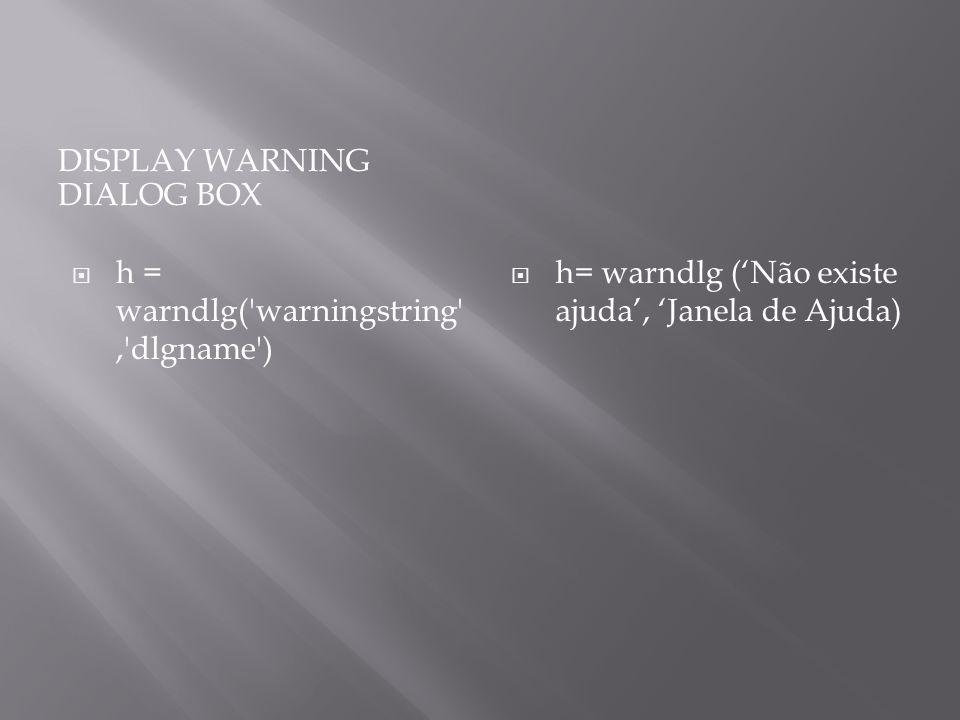 Display warning dialog box
