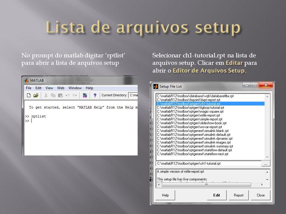 Lista de arquivos setup