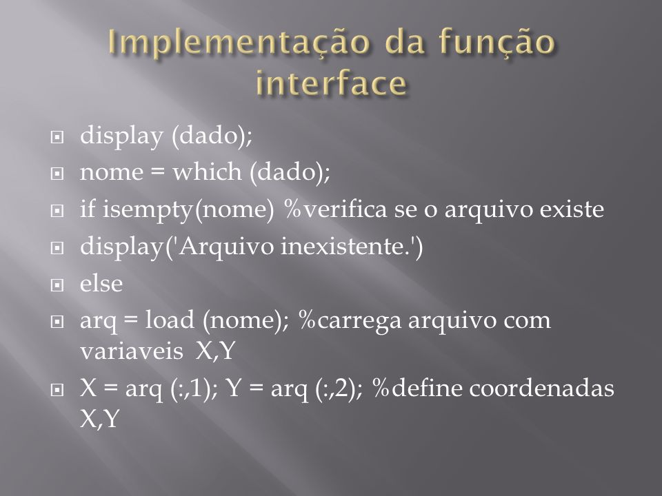 Implementação da função interface