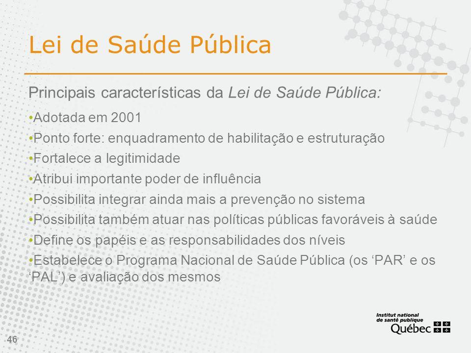 Lei de Saúde Pública Principais características da Lei de Saúde Pública: Adotada em 2001. Ponto forte: enquadramento de habilitação e estruturação.