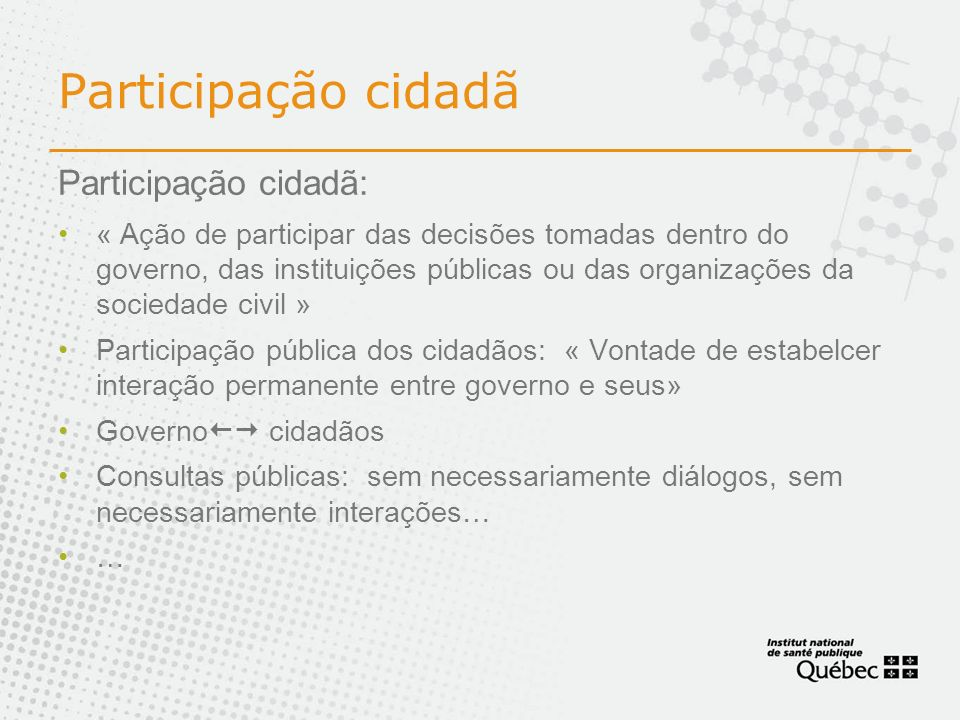 Participação cidadã Participação cidadã: