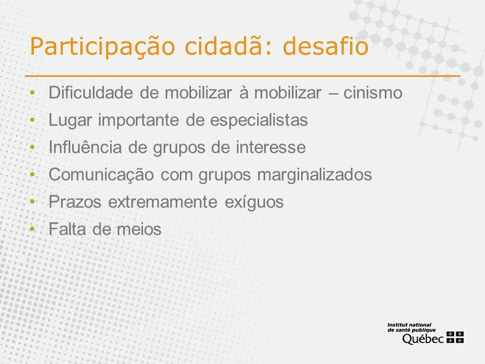 Participação cidadã: desafio