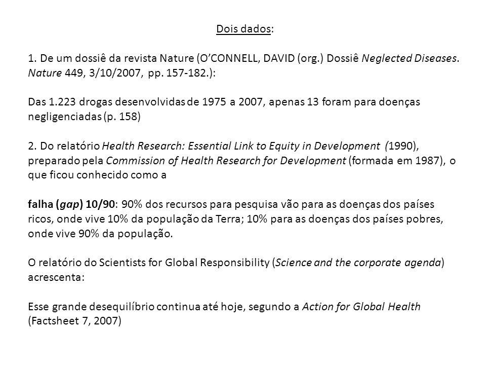 Dois dados: 1. De um dossiê da revista Nature (O'CONNELL, DAVID (org.) Dossiê Neglected Diseases. Nature 449, 3/10/2007, pp. 157-182.):