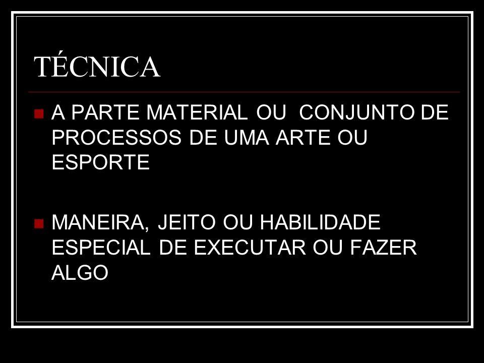 TÉCNICA A PARTE MATERIAL OU CONJUNTO DE PROCESSOS DE UMA ARTE OU ESPORTE.