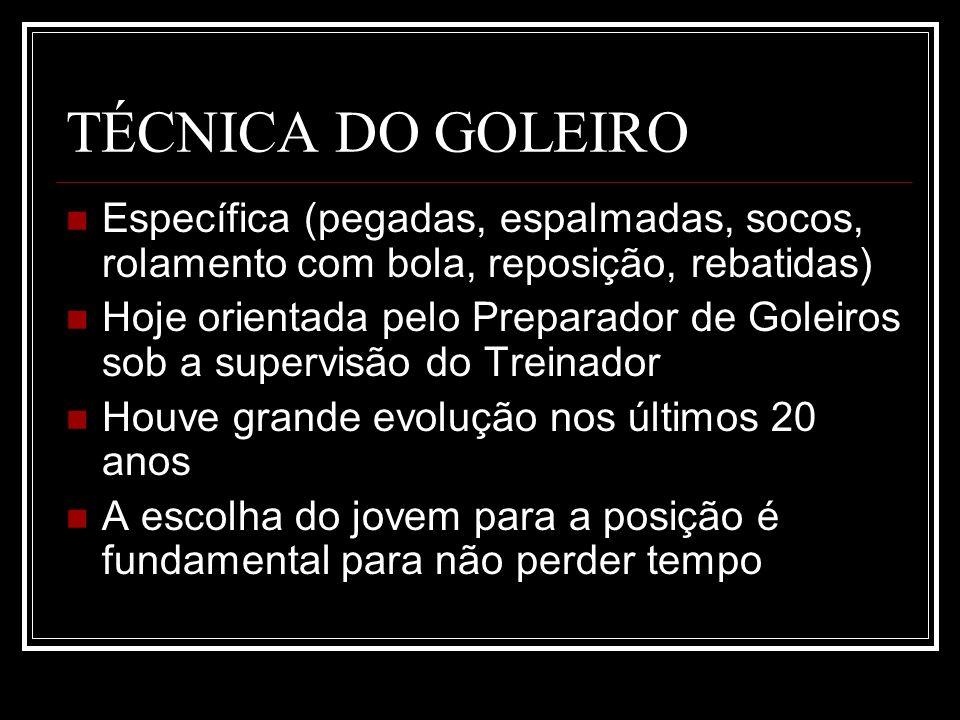 TÉCNICA DO GOLEIRO Específica (pegadas, espalmadas, socos, rolamento com bola, reposição, rebatidas)