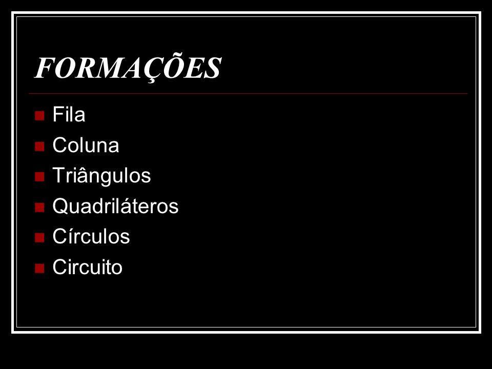 FORMAÇÕES Fila Coluna Triângulos Quadriláteros Círculos Circuito