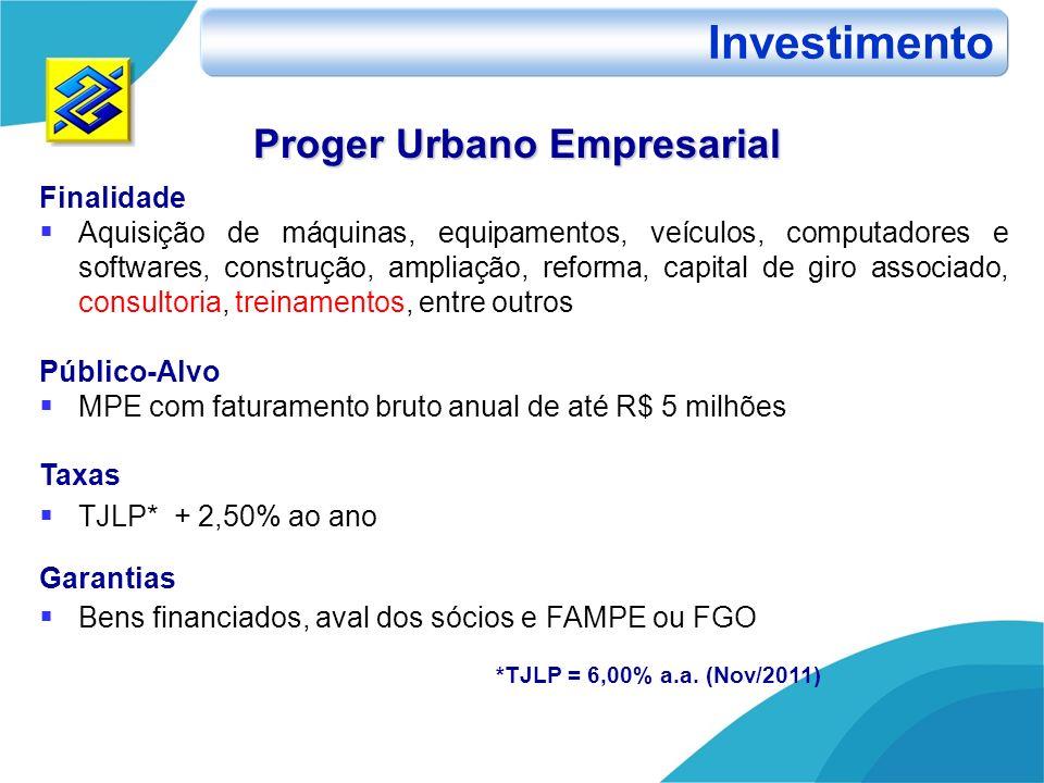 Investimento Proger Urbano Empresarial Finalidade