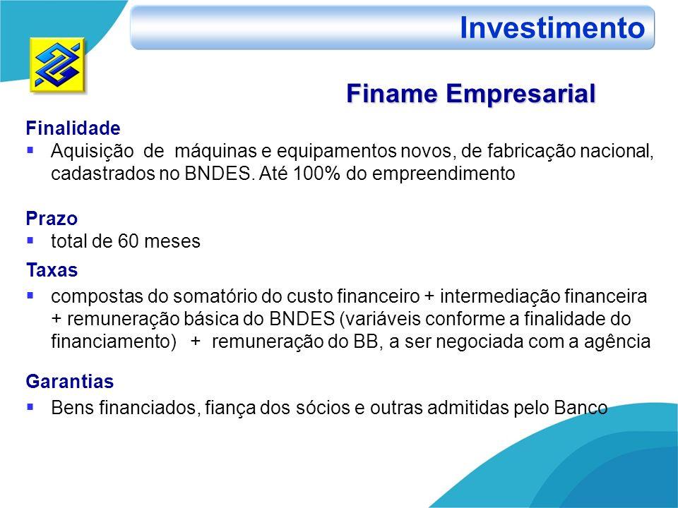 Investimento Finame Empresarial Finalidade