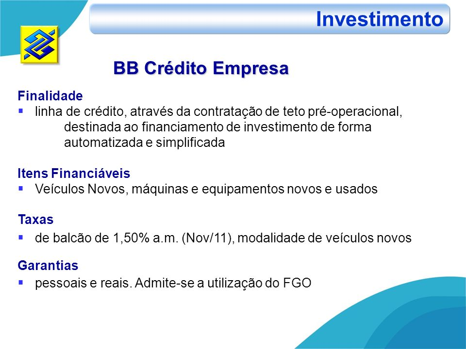 Investimento BB Crédito Empresa Finalidade