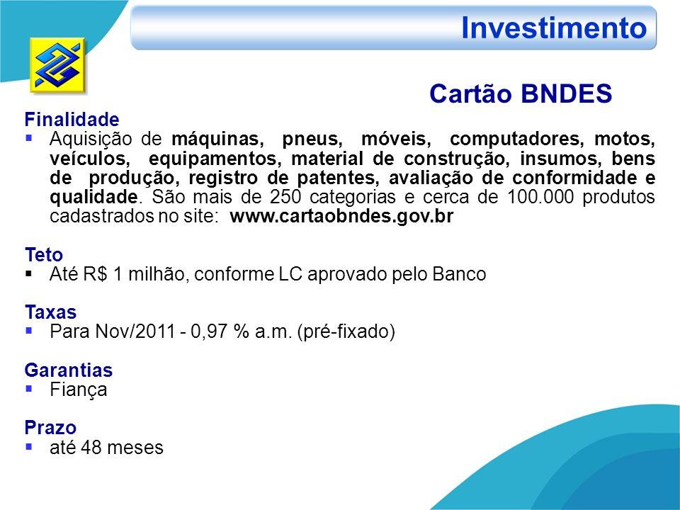 Investimento Cartão BNDES Finalidade