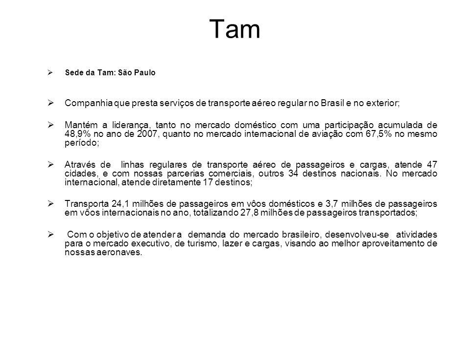 Tam Sede da Tam: São Paulo. Companhia que presta serviços de transporte aéreo regular no Brasil e no exterior;