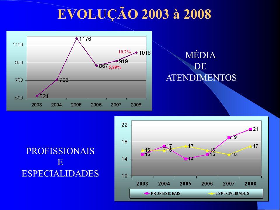EVOLUÇÃO 2003 à 2008 MÉDIA DE ATENDIMENTOS PROFISSIONAIS E