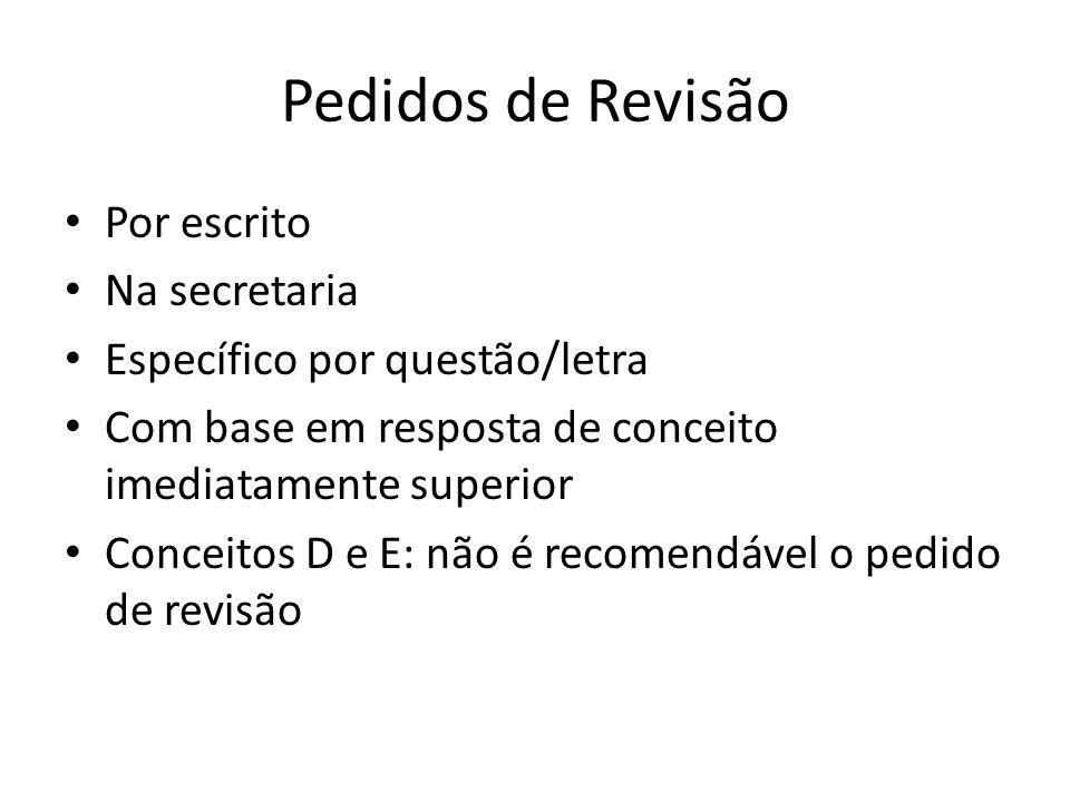 Pedidos de Revisão Por escrito Na secretaria