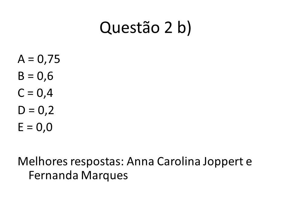 Questão 2 b)A = 0,75 B = 0,6 C = 0,4 D = 0,2 E = 0,0 Melhores respostas: Anna Carolina Joppert e Fernanda Marques