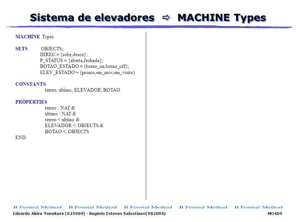 Sistema de elevadores  MACHINE Types