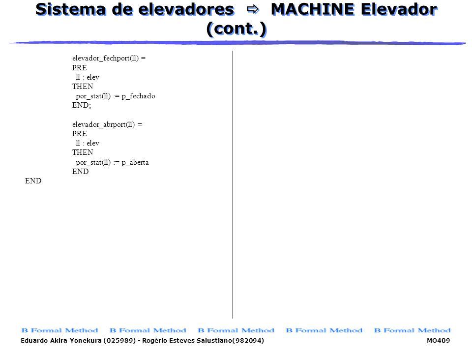 Sistema de elevadores  MACHINE Elevador (cont.)