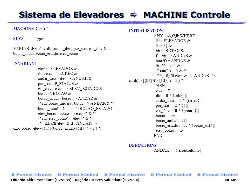Sistema de Elevadores  MACHINE Controle