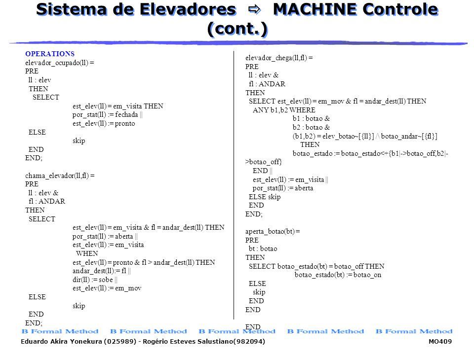 Sistema de Elevadores  MACHINE Controle (cont.)