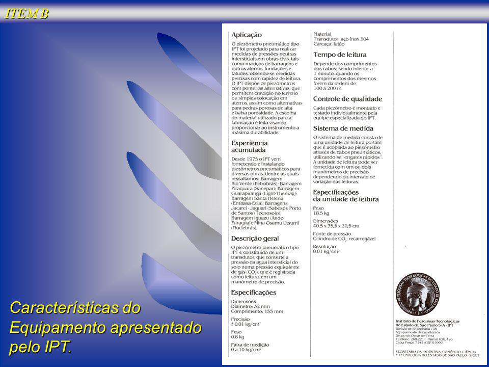Características do Equipamento apresentado pelo IPT.