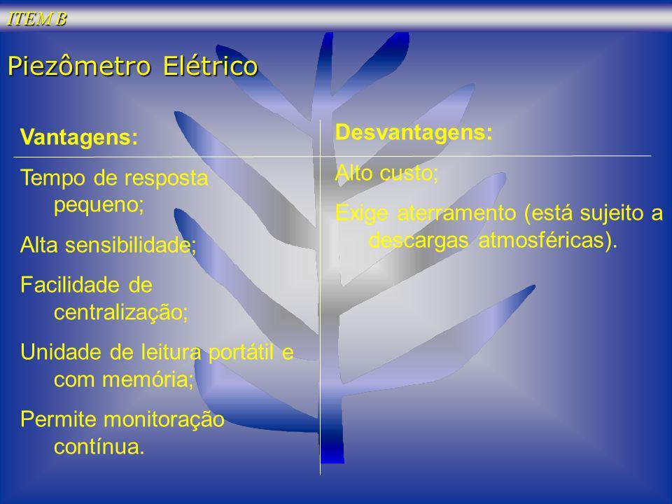 Piezômetro Elétrico Desvantagens: Vantagens: Alto custo;