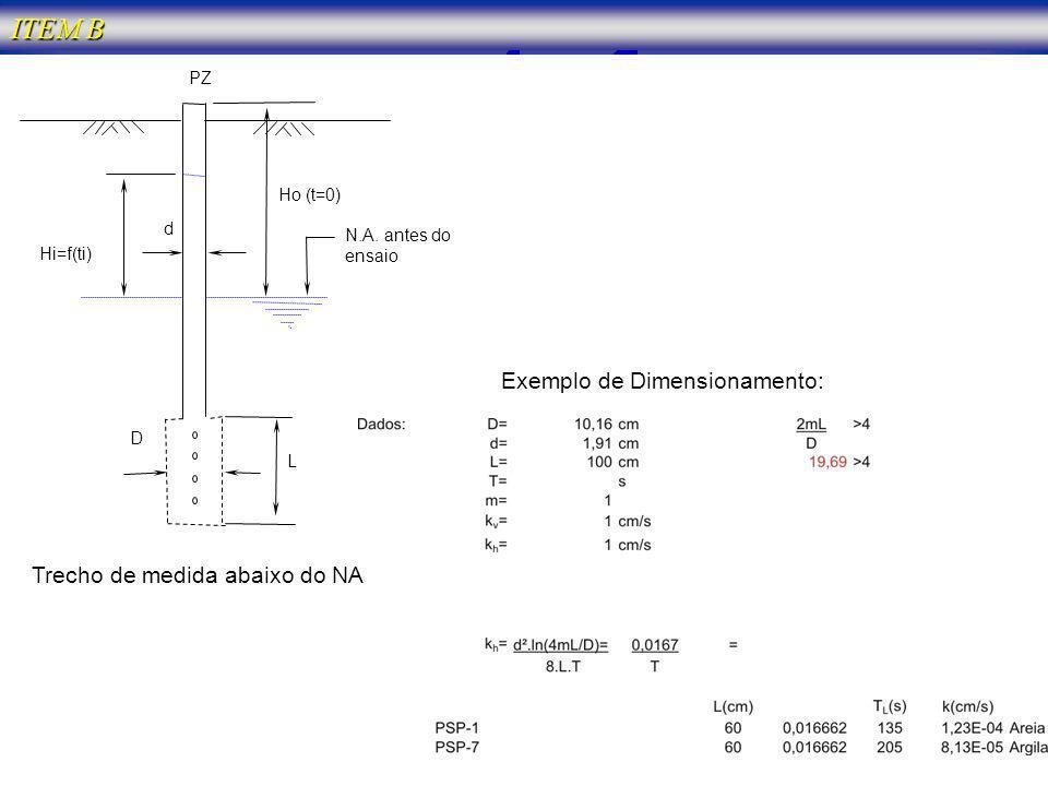 ITEM B Exemplo de Dimensionamento: Trecho de medida abaixo do NA PZ