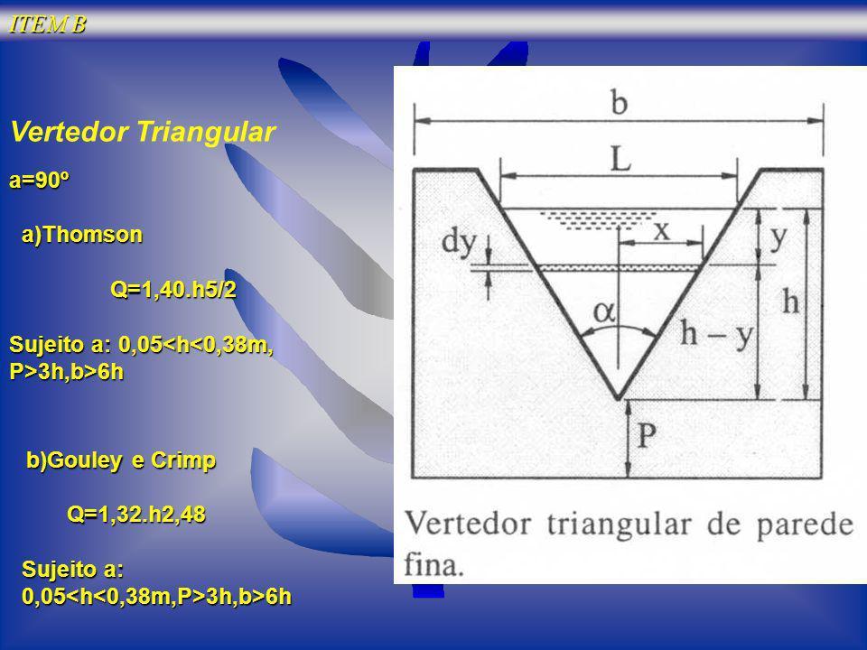 Vertedor Triangular ITEM B a=90º a)Thomson Q=1,40.h5/2
