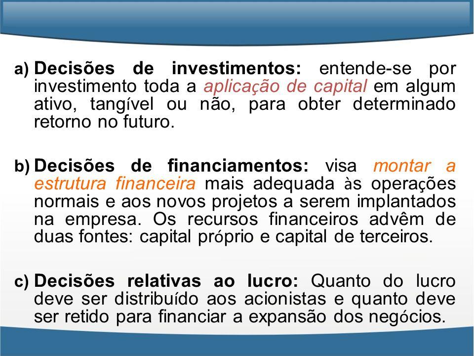 Decisões de investimentos: entende-se por investimento toda a aplicação de capital em algum ativo, tangível ou não, para obter determinado retorno no futuro.