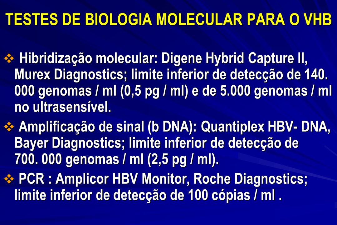 TESTES DE BIOLOGIA MOLECULAR PARA O VHB