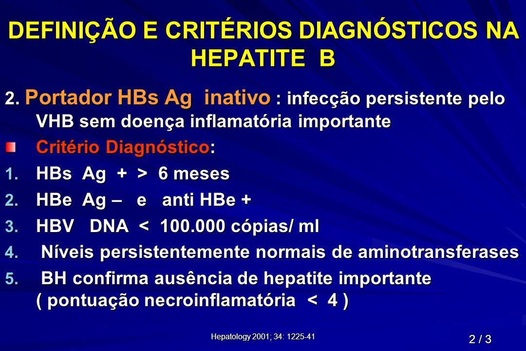 DEFINIÇÃO E CRITÉRIOS DIAGNÓSTICOS NA HEPATITE B