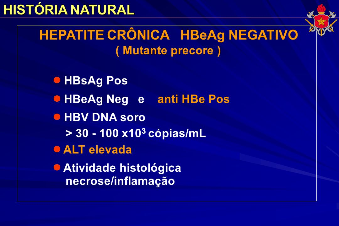 HEPATITE CRÔNICA HBeAg NEGATIVO