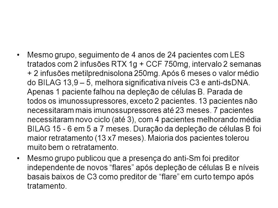 Mesmo grupo, seguimento de 4 anos de 24 pacientes com LES tratados com 2 infusões RTX 1g + CCF 750mg, intervalo 2 semanas + 2 infusões metilprednisolona 250mg. Após 6 meses o valor médio do BILAG 13,9 – 5, melhora significativa níveis C3 e anti-dsDNA. Apenas 1 paciente falhou na depleção de células B. Parada de todos os imunossupressores, exceto 2 pacientes. 13 pacientes não necessitaram mais imunossupressores até 23 meses. 7 pacientes necessitaram novo ciclo (até 3), com 4 pacientes melhorando média BILAG 15 - 6 em 5 a 7 meses. Duração da depleção de células B foi maior retratamento (13 x7 meses). Maioria dos pacientes tolerou muito bem o retratamento.