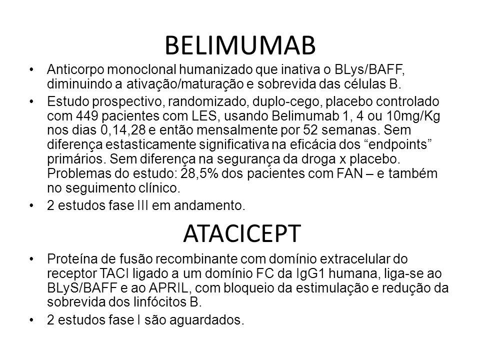 BELIMUMABAnticorpo monoclonal humanizado que inativa o BLys/BAFF, diminuindo a ativação/maturação e sobrevida das células B.