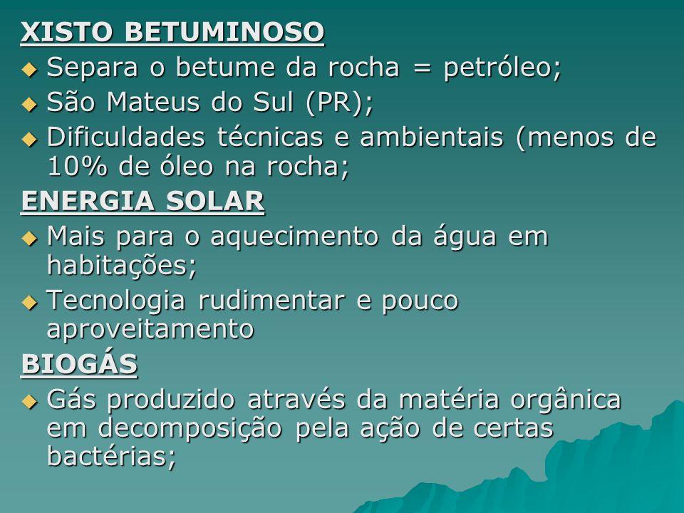 XISTO BETUMINOSO Separa o betume da rocha = petróleo; São Mateus do Sul (PR); Dificuldades técnicas e ambientais (menos de 10% de óleo na rocha;