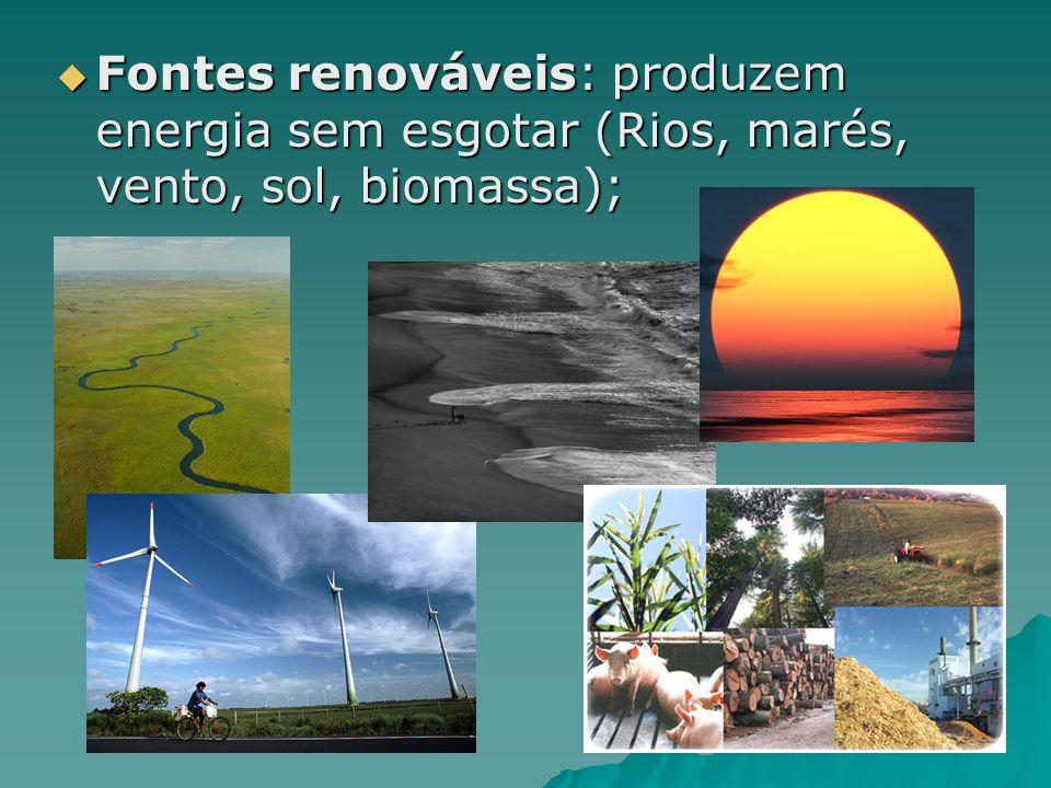 Fontes renováveis: produzem energia sem esgotar (Rios, marés, vento, sol, biomassa);