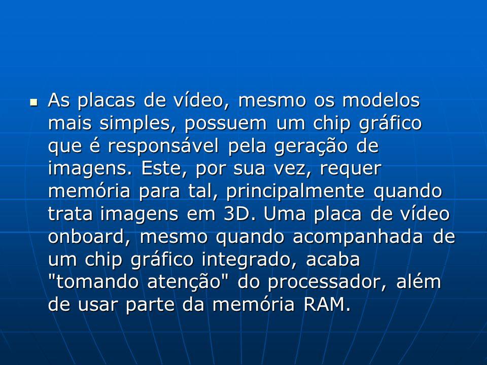 As placas de vídeo, mesmo os modelos mais simples, possuem um chip gráfico que é responsável pela geração de imagens.