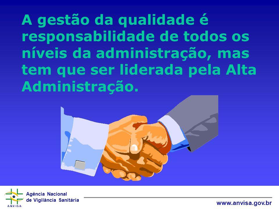 A gestão da qualidade é responsabilidade de todos os níveis da administração, mas tem que ser liderada pela Alta Administração.