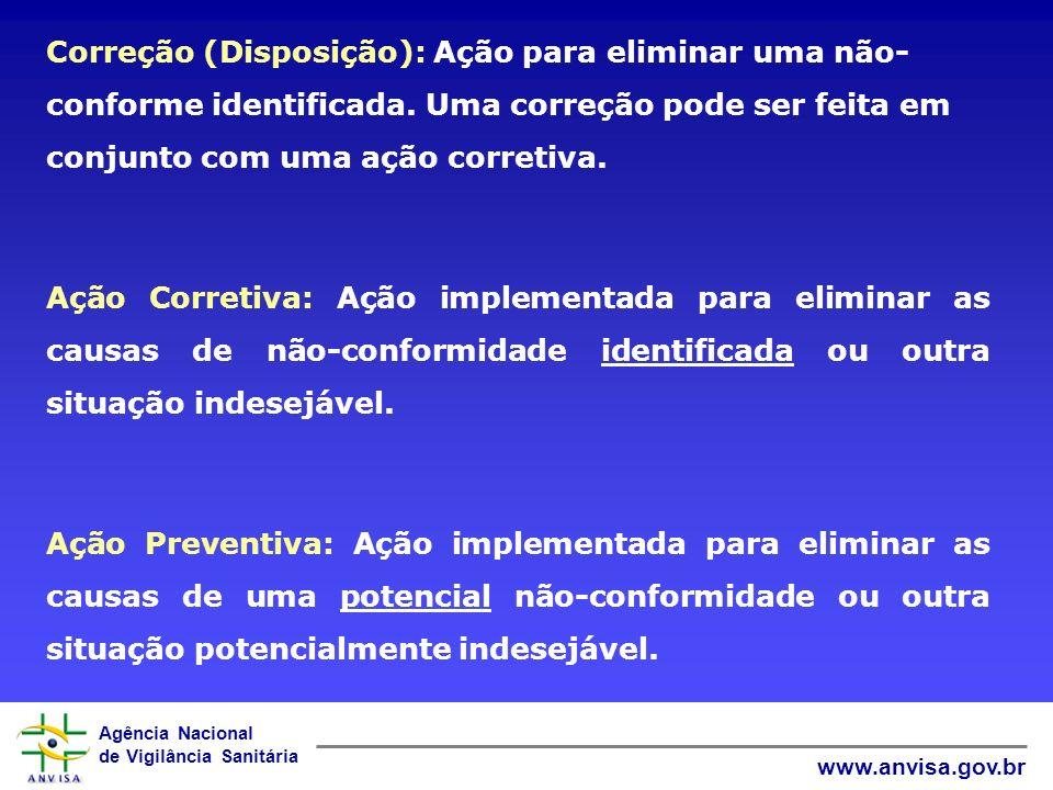 Correção (Disposição): Ação para eliminar uma não-conforme identificada. Uma correção pode ser feita em conjunto com uma ação corretiva.